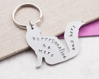 Cat keychain, cat keyring, personalized gift, cat lover gift, custom keychain, personalized keyring, name keychain, gift for her, cat gifts