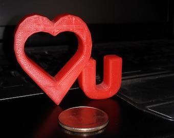 RED -  LOVE YOU - I Love U - 3D Art Original - Free Shipping