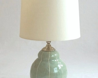 Small ceramic table lamp. Bedside table lamp. Contemporary pottery lamp. Modern home decor. Custom colors options. Kri Kri Studio Seattle