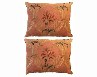 A Pair of 18th Century French Brocade Pillow