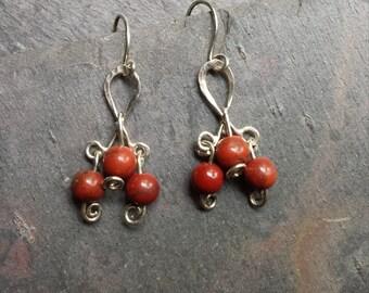 Sterling Silver Red Jasper Earrings