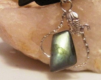Moss Agate Pendant Necklace with Rutilated Quartz