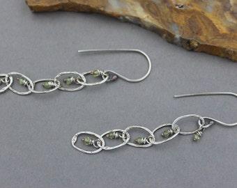 Long Green Prehnite Earrings, Chandelier Earrings, Long Chain Dangle Earrings Handmade Silver Chain, Sterling, Tiny Hand Cut Gemstones