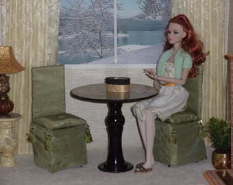 """1:4 Table Set For 16"""" Tonner and 40.6cm BJD Dolls"""