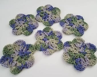 Price reduced! Set of 6 Coasters, Crocheted Coaster Set, Purple and Green Coaster Set, Cotton Crocheted Coaster Set