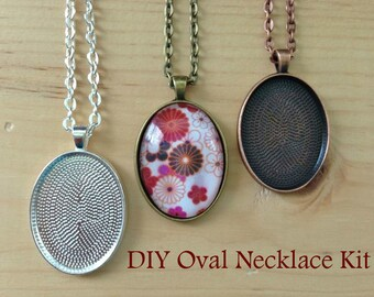 10pc..DIY Oval Pendant Tray Necklace Kit...Size 22x30...includes chains, glass Inserts,  trays..Mix and Match color trays.