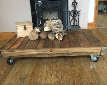 Old Industrial Style Low Cart Table.