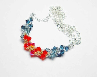"""Fire Opal Swarovski Necklace Indian Sapphire Montana Blue Hyacinth Fire Opal 2X AB Beadweaving Sterling Silver - """"Fire and Ice"""""""
