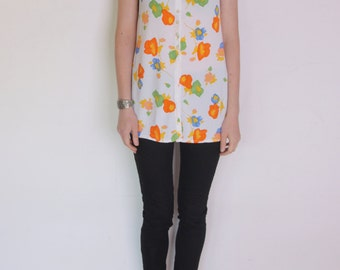"""90's watercolor floral top, sleeveless blouse, flowers pattern, yellow, orange, red, green, white """"painted"""" flowers pattern"""