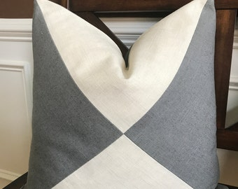 Triangle Charcoal Gray and Cream Linen Pillow Cover