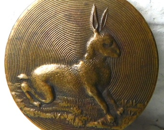 "7/8"" Exceptional Antique Metal Brass Picture Sporting Button Running HARE rabbit bunny~makers mark BR"