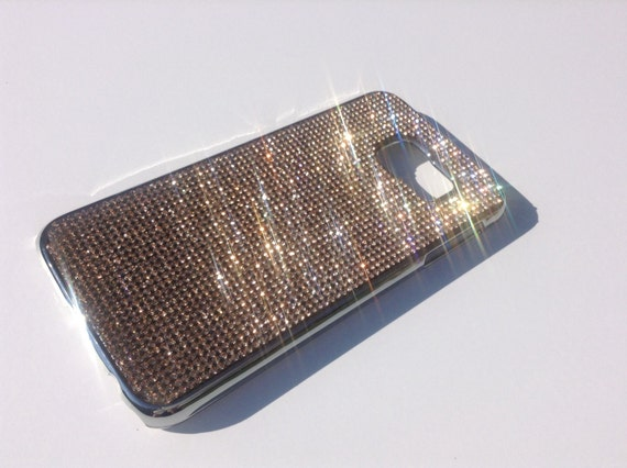 Galaxy S6 Rose Gold Rhinestone Crystals on Silver Chrome Case. Velvet/Silk Pouch Bag Included, Genuine Rangsee Crystal Cases.
