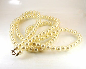 46 Inch Faux Pearl Necklace Vintage Necklace Pearl Long Necklace Pearl Necklace White Pearl Necklace