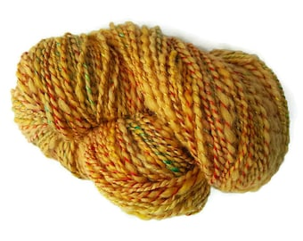 Wool and silk yarn skein, yellow gold hand dyed handspun plied with rainbow silk