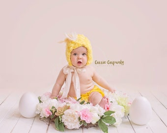 Chickie Doodle all day Made to order,chicken bonnet,spring bonnet,newborn,sitter,toddler,photography prop,farm,country,chick,easter