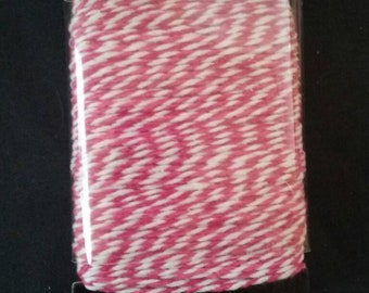 Baker's Twine, Pink and White, 25 Yards, New Unused