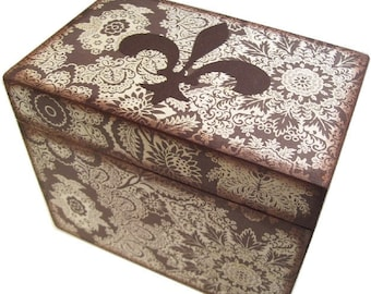Recipe Box, Wood Recipe Box, Decoupaged Recipe Box, Fluer de Lis  Box, Wedding Recipe Box, Bridal Shower Box, Holds 4x6 Cards, MADE TO ORDER