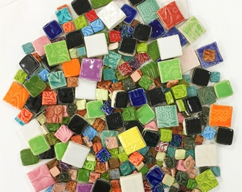Mosaic Square Tiles - 1 lb High Fired Ceramic Tiles - Mixed Bag
