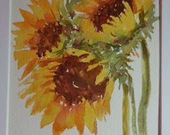 Sunflowers, original painting, watercolor sunflowers
