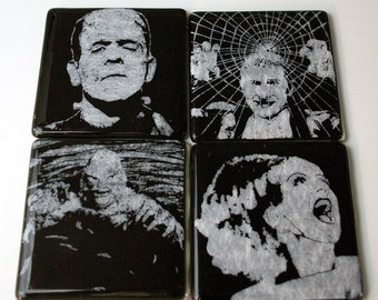 Monsters Series 1 Fused Glass Coaster 4-pack