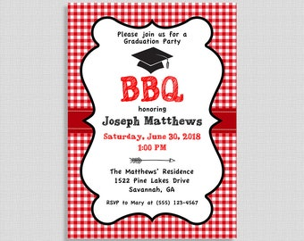 BBQ Graduation Party Invitation, Red Barbecue Grad Party Invite, Class of 2018, DIY PRINTABLE