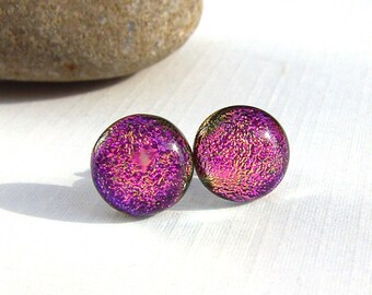 Pink Stud Earrings - Dichroic Jewelry - Fused Glass Earrings - 925 Sterling Silver Post Earrings