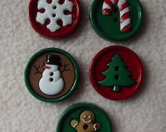 SET of 5 Round Christmas Sewing Button Collection