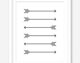 Minimalist print - printable poster - printable art - simple art - arrows print - black and white - minimalist home decor - DIGITAL DOWNLOAD