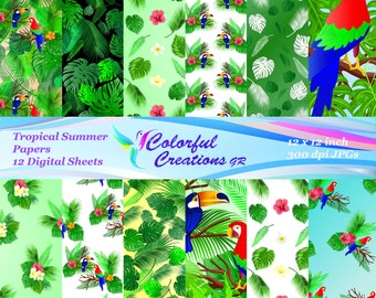 Tropical Summer Digital Papers, Summer Digital Papers, Tropical Papers, Parrots, Tropic Floral Digital Papers,  Personal & Commercial Use