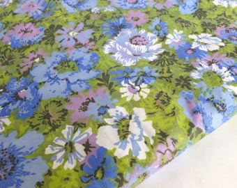 Retro Floral Fabric in Blues, Greens, and Purples ONE Yard Destash Yardage
