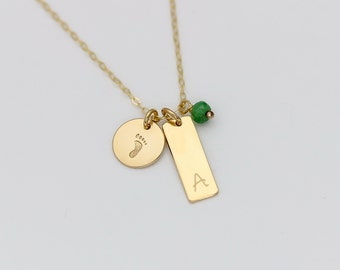 Personalized Gold Name Bar with Birthstone and Baby Foot Necklace, Rose Gold Initial Pendant Bar Charm Necklace, Silver New Mom Jewelry