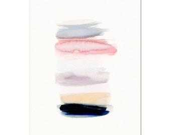 Abstract Watercolor Art Print. Minimalist Wall Art.  Modern Abstract Painting.  Pastel Pink/Blue Art. Modern Apartment Decor. Dorm Wall Art.