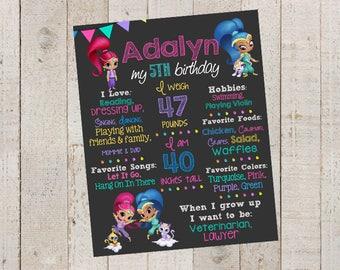 Shimmer and Shine- Birthday Chalkboard-- Custom First Birthday Sign- Geenies- Custom Digital File--Troll Birthday- First Birthday