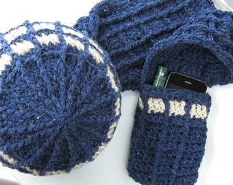 TARDIS-inspired Hat & Scarf Crochet Pattern - Doctor Who Inspired Geekery - TARDIS-inspired Beanie and Pocket Scarr