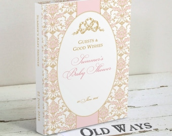 Pink and Gold Vintage Bow Baby Shower Guest Book - Baby Girl Wishes for Baby, Baby Advice Book, Elegant Baby Shower Keepsake Book