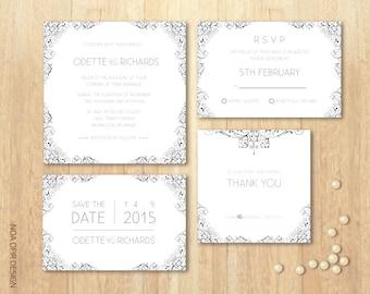 Wedding Invitation Set, Gray Invitation Set, Classic Invitation, Printable DIY Wedding Invitation Set, RSVP, Save The Date, Thank You Card