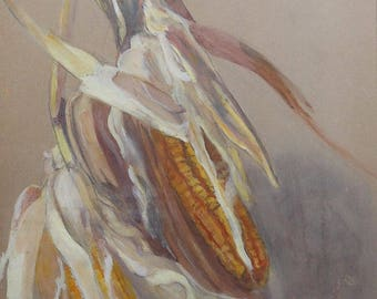 vintage watercolor of   corn and husk