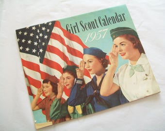 SALE - 1957 Girl Scout Calendar, calendar, vintage, midcentury, collectable, Girl Scouts