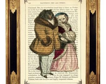 Noble Cat Couple Portrait  - Vintage Victorian Book Page Art Print Steampunk