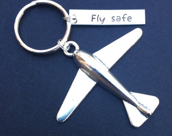 Fly Safe Keychain, Pilot Gift, Airplane Keychain, Airplane, Traveling Keychain, Handstamped Keychain, Gift for Flight Attendant, Travel gift