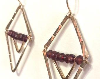 Gold and Garnet Wanderlust Earrings Small