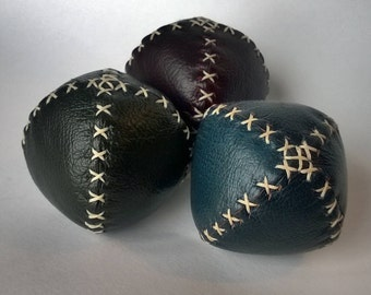 Set of three handmade leather juggling balls - Red, Blue and Green
