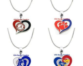 NCAA  Heart Swirl Team Logo Necklace On A 925 Sterling Silver Snake Chain With Lobster Claw Clasp (Free Shipping)