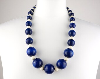 Navy blue and Ivory Wooden Bead Necklace | Blue Necklace | Chunky Bead Necklace | Long Navy Necklace | Statement Necklace | Gift for Her
