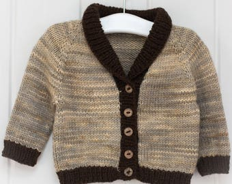 Hand Knit Shawl Collar Baby Cardigan - Pearl/Chocolate - 0-6 months - Merino Wool, handmade baby clothes