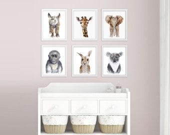 Baby Animal Nursery Art - Zoo Nursery Prints - Zoo Animals - Baby Wall Art - Gender Neutral Nursery Decor - Baby Boy - Baby Girl - Baby Gift