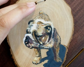 Your Pet Portrait Painted on Natural Wood Slice