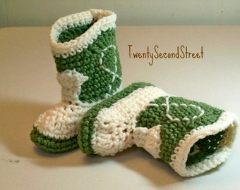 Crochet Baby Cowboy Booties Green & Natural Cowboy Boots SALE 9-12 Month Size