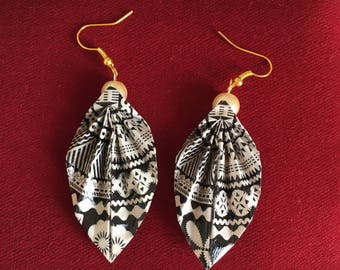 Masi print origami leaf earrings