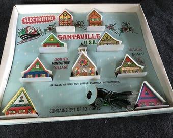 Vintage Santaville lighted miniature village